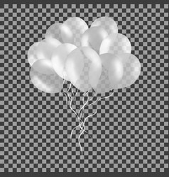 bunch of white helium balloons isolated on vector image