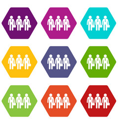 business icon set color hexahedron vector image