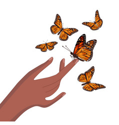 Butterfly sits on hand isolated image vector