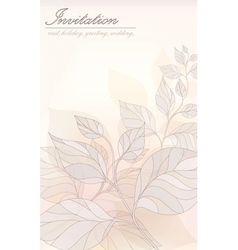 Card - an invitation stylized leaves in pastel col vector image
