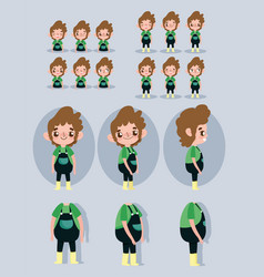 Cartoon character animation little boy some parts vector