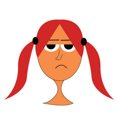 Cartoon mad girl with red hair on white background vector