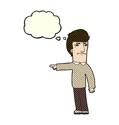 Cartoon man pointing with thought bubble vector