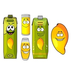 Cartoon mango juice fruit and glasses vector image