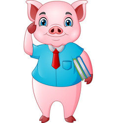 cartoon pig teacher holding a books vector image