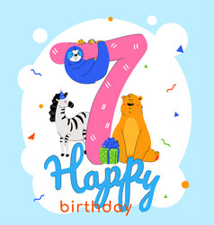 Children 7th birthday greeting card vector