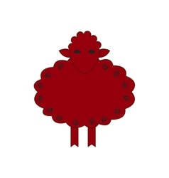 Chinese zodiac symbol red sheep vector