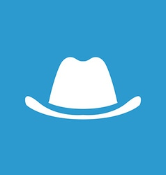Classic hat icon white on the blue background vector