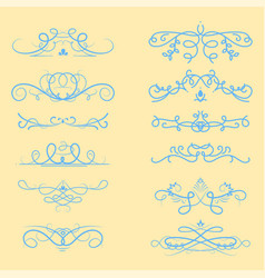 collection of dividers calligraphic style vector image