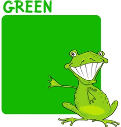 Color Green and Frog Cartoon vector