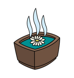 Color image cartoon flower essence in a bowl spa vector