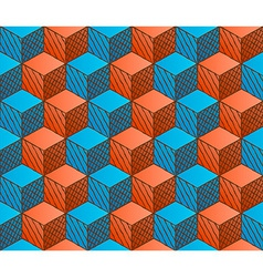 Colorful drawing styled cubes pattern vector image