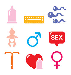 contraception methods sex icons set vector image