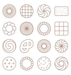 Cookie cracker and biscuit outline icon set 1 vector