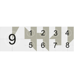 Countdown frame old film movie timer count vector