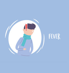 Covid19 19 pandemic infographic man with fever vector