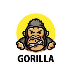 cute gorilla cartoon logo icon vector image