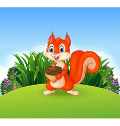 Cute little squirrel holding nut vector