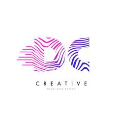 Dc d c zebra lines letter logo design with vector