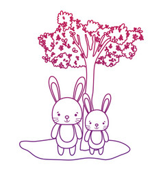 Degraded outline cute couple rabbit animal and vector