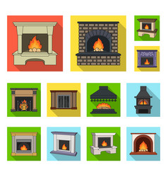 different kinds of fireplaces flat icons in set vector image