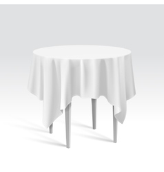Empty round table with tablecloth vector
