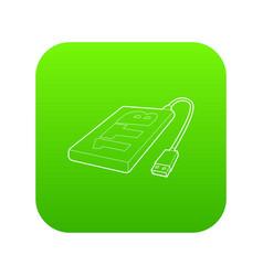 External hard drive 1tb icon green vector