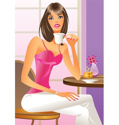 Fashion girl drinking a coffe vector image