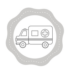 figure sticker ambulance emergency care life vector image