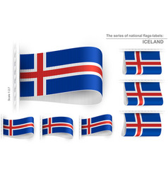 Flag tag clothes label sticker sewn set iceland vector