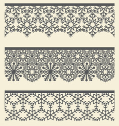 Floral arabic lacy seamless border snow line vector