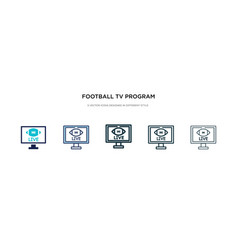 Football tv program icon in different style two vector
