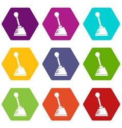 Gear stick icon set color hexahedron vector