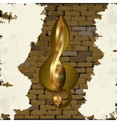 Golden treble clef in the brick wall vector image
