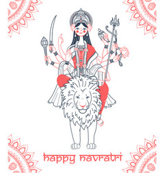 Greeting card navratri goddess durga vector