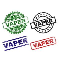 Grunge textured vaper stamp seals vector