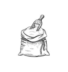 hand draw bag with flour vector image