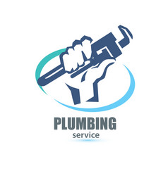 Hand holding a wrench plumbing service logo vector