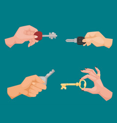 hand holding key apartment selling human vector image