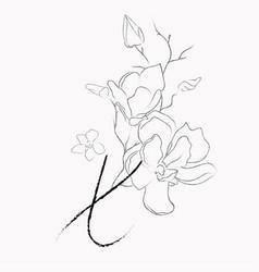 Handwritten line drawing floral logo monogram x vector