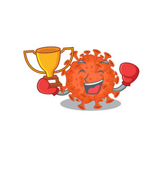 Happy face boxing winner electron microscope vector