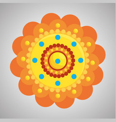 Hindu flower with points traditional decoration vector