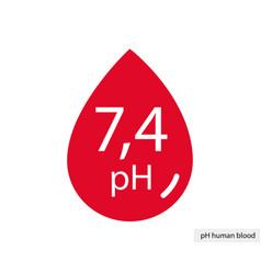 Human blood drop symbol with hormal blood ph range vector