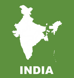 India map on green background flat vector