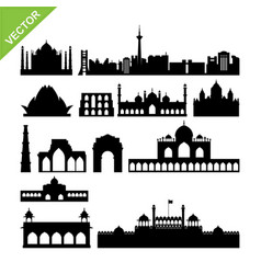 india new delhi landmark silhouettes vector image