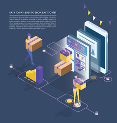 isometric smart phone online shopping vector image