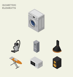 Isometric technology set of kitchen fridge air vector