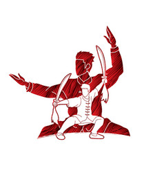 Kung fu wushu with swords pose graphic vector