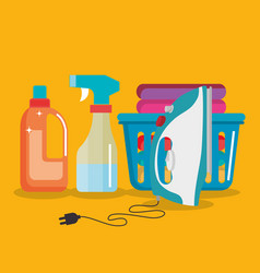 laundry service set products vector image