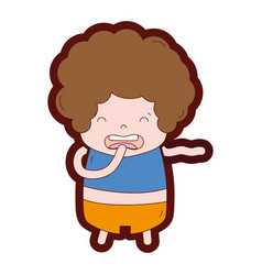 Line color boy with curly hair and disgusted face vector